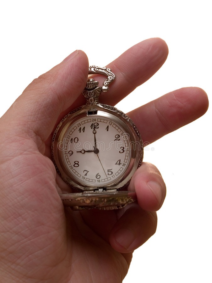 watch in the arm. time concept royalty free stock photography