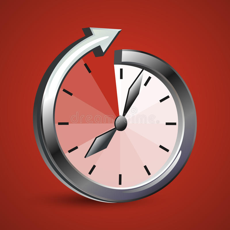 Watch arrow which shows the infinity of time stock illustration