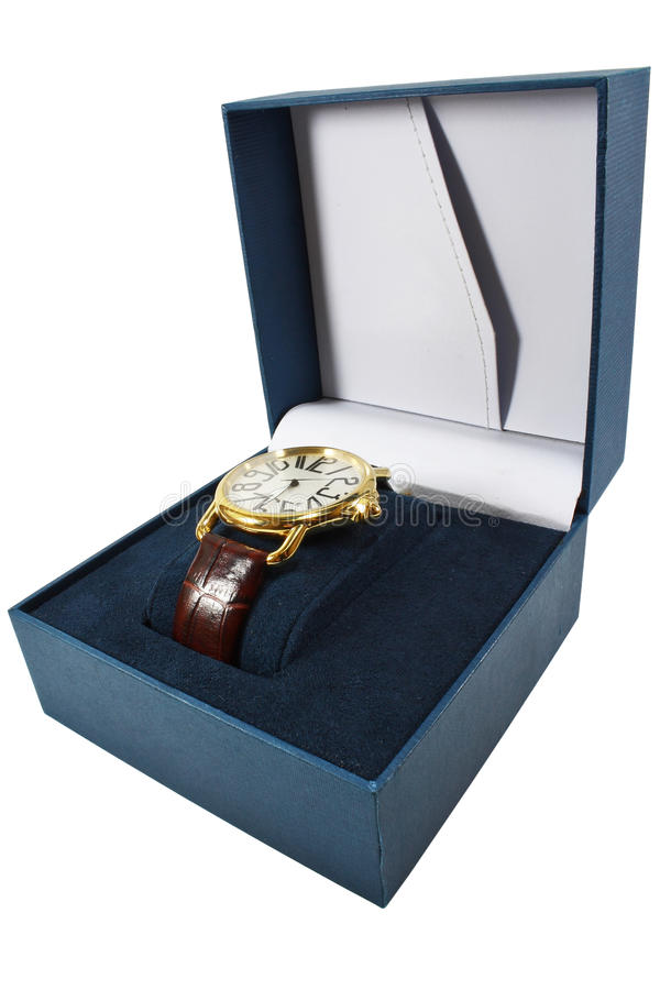 Watch in box stock image