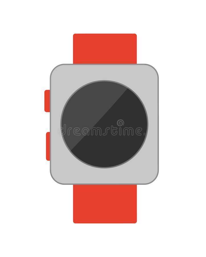 Watch with Buttons Poster Vector Illustration. Watch with buttons, poster with helpful wristwatch of red and grey colors, clock showing time, vector illustration royalty free illustration