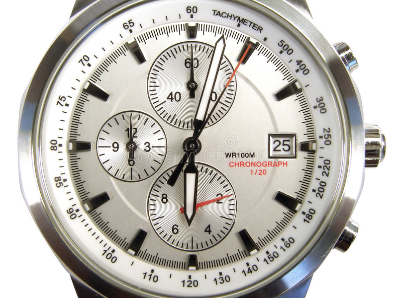 Watch clock. Silver timer selected closeup isolated royalty free stock photo