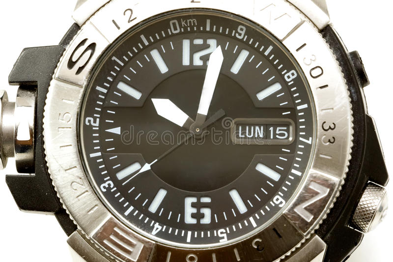 Watch with compass royalty free stock photo
