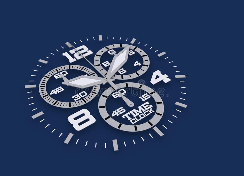 Watch detail in blue 3D time vector illustration