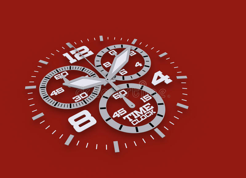 Watch detail in Red 3D time stock illustration