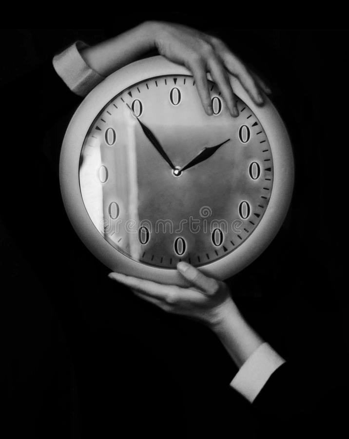 Watch dial with zeros. Watch with zeros in female hands. Black and white royalty free stock photo
