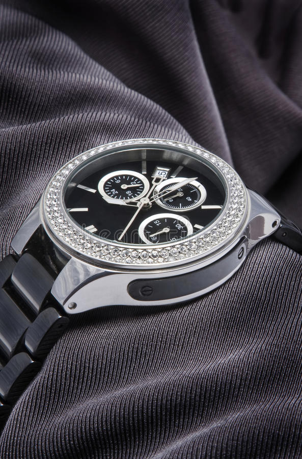 Download Watch with diamonds stock image. Image of chrome, present - 30668235