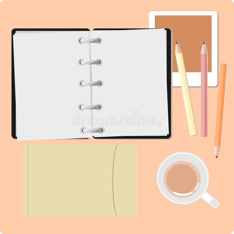 watch för penna för begreppsanteckningsbokkontor royaltyfri illustrationer