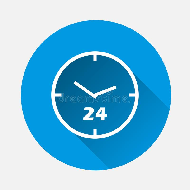 Watch face vector icon. 24 hour on blue background. Flat imagetime of clock with long shadow. Layers grouped for easy editing ill vector illustration