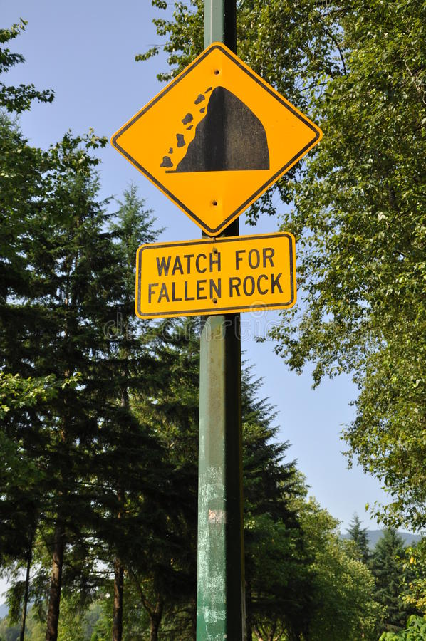 Watch for fallen rock stock image