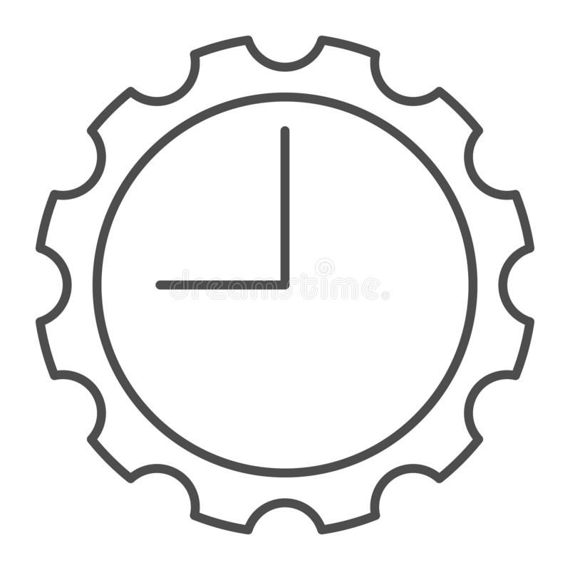 Watch with gear thin line icon. Clock with cogwheel vector illustration isolated on white. Mechanical watch outline royalty free illustration