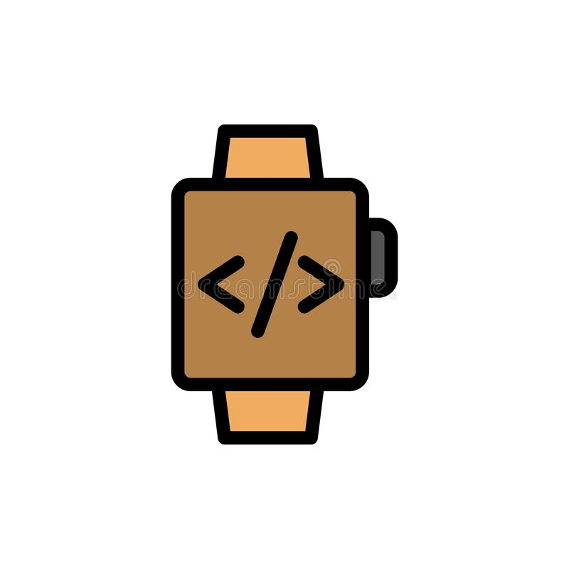 Watch, Hand Watch, Time Clock  Flat Color Icon. Vector icon banner Template vector illustration