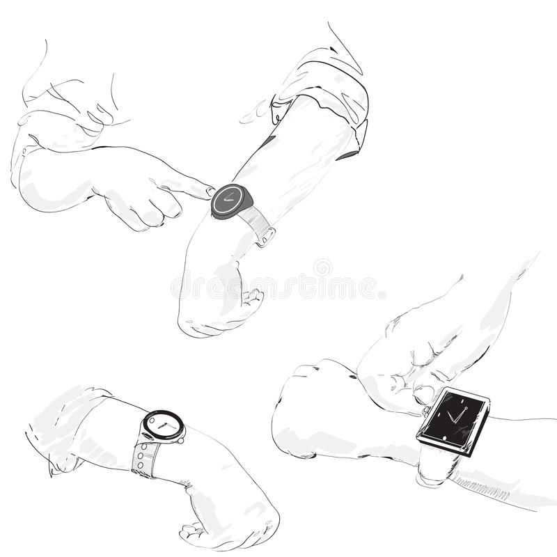 Download Watch on the hands stock vector. Illustration of watch - 33428310