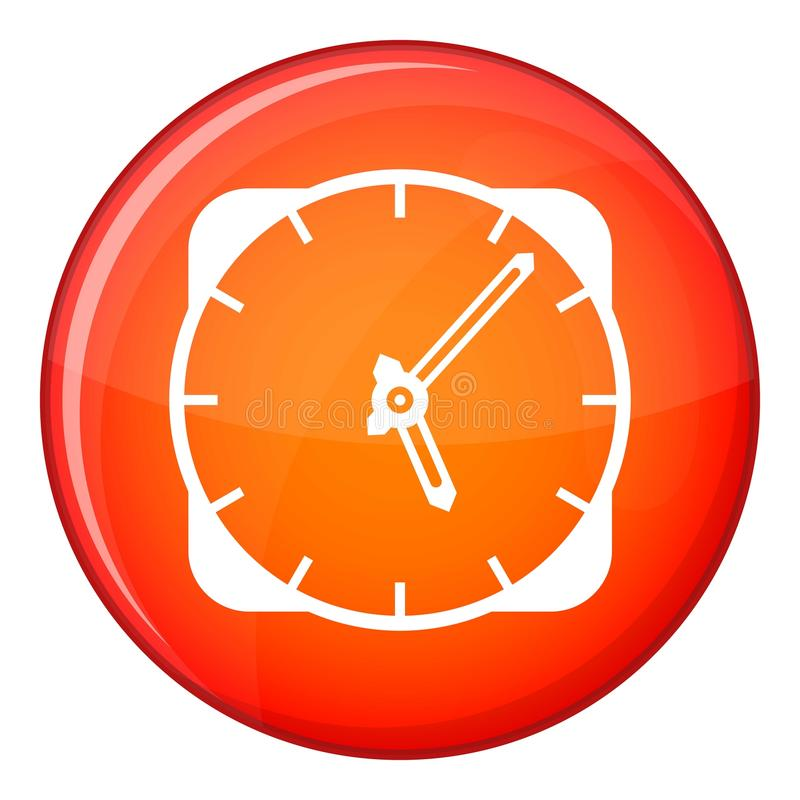Watch icon, flat style. Watch icon in red circle isolated on white background vector illustration stock illustration