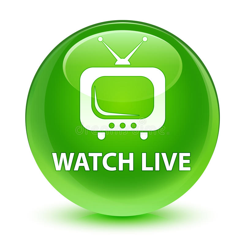 Watch live glassy green round button. Watch live isolated on glassy green round button abstract illustration royalty free illustration