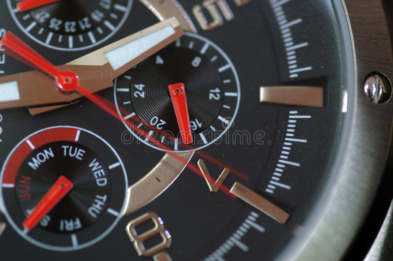 Watch Macro. A macro shot of a chronological watch stock image