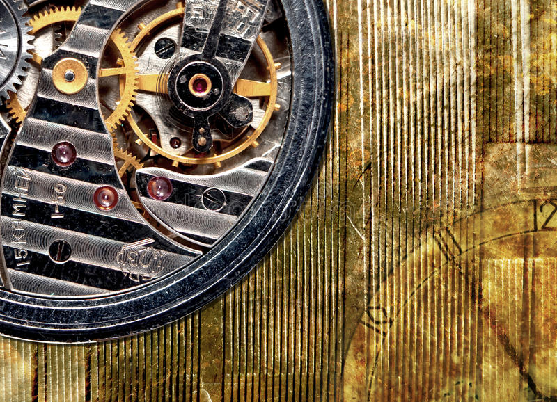 Watch mechanism close-up stock images