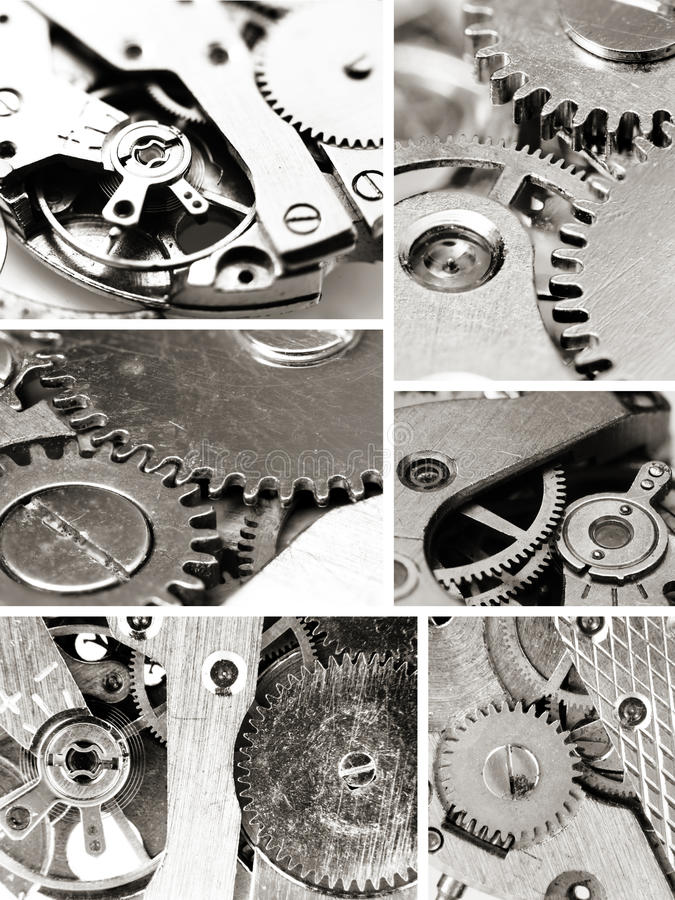Watch mechanism gears. In monochrome collage stock photo