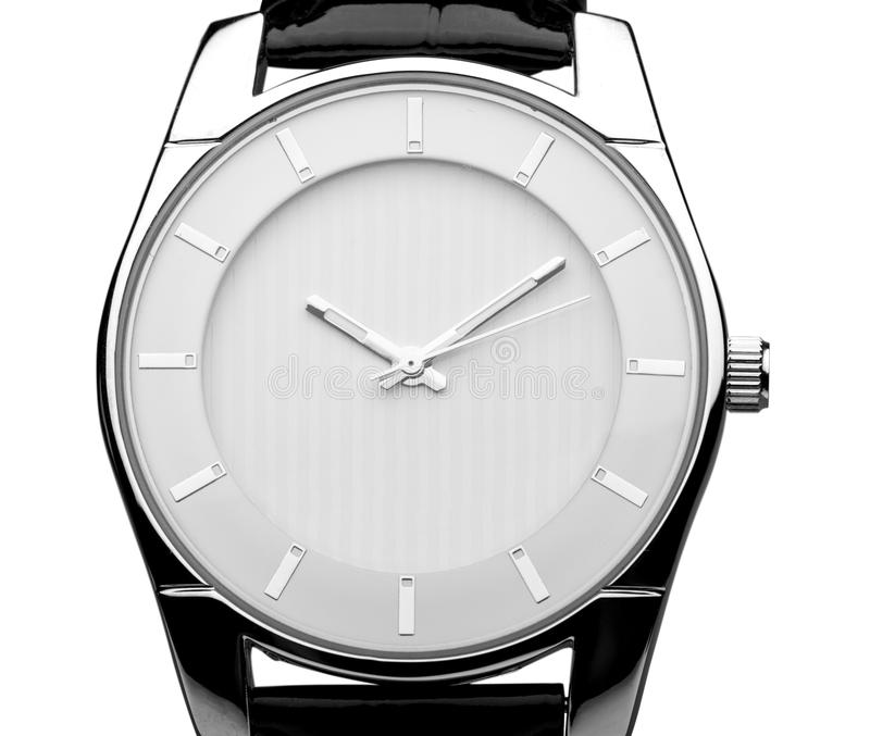 Men`s mechanical watch on white background. Watch men number glass isolated beautiful closeup stock images
