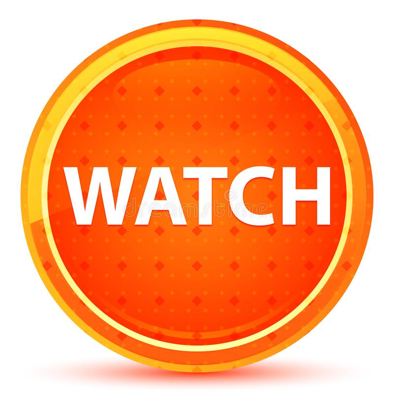 Watch Natural Orange Round Button. Watch Isolated on Natural Orange Round Button vector illustration