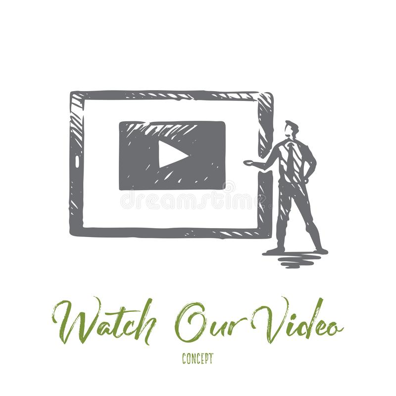Watch our video, internet, play, media, web concept. Hand drawn isolated vector. Watch our video, internet, play, media, web concept. Hand drawn screen with stock illustration
