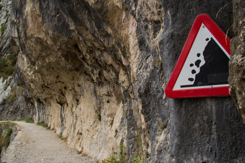 Falling rocks. Watch out for falling rocks stock photography