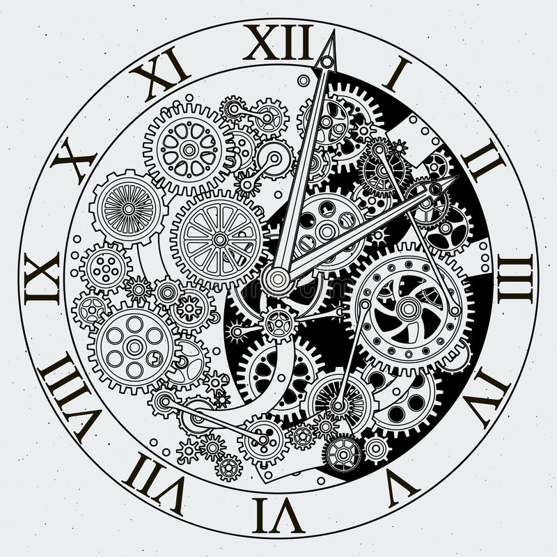 Watch parts. Clock mechanism with cogwheels. Vector illustrations royalty free illustration
