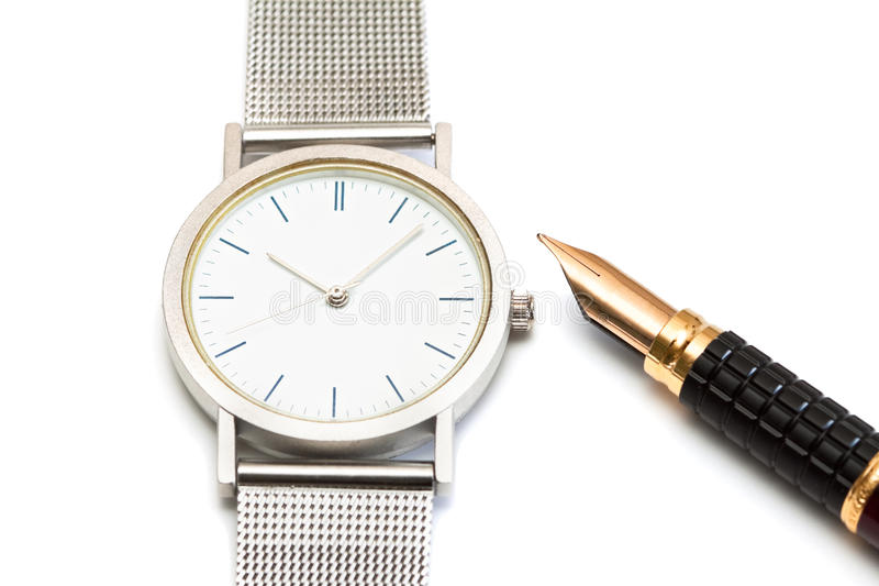 Watch And Pen. Royalty Free Stock Image