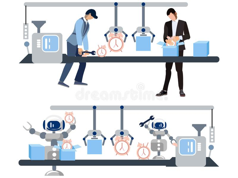 Watch production. The difference is the attitude of people and robots to work. In minimalist style Cartoon flat Vector. Illustration stock illustration