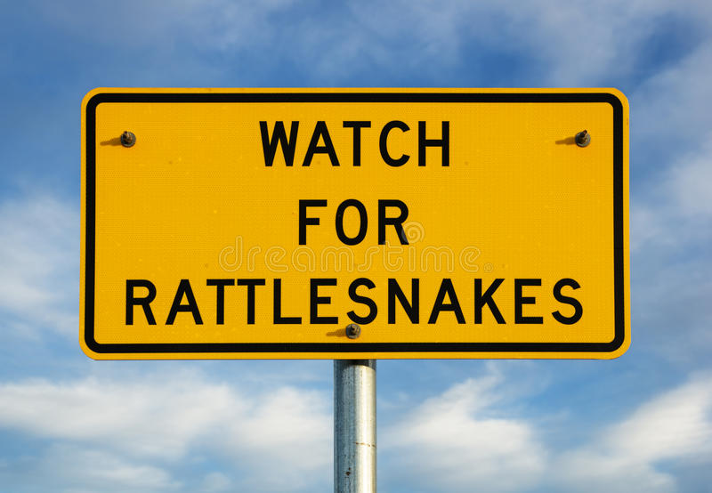 Download Watch For Rattlesnakes Sign Stock Photo - Image of roadsign, scary: 49383642