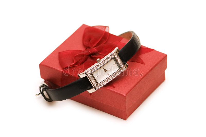 Watch and red giftbox isolated. On the white stock photography