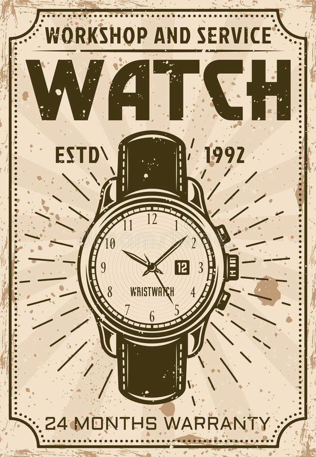 Watch repair and service advertising poster stock illustration