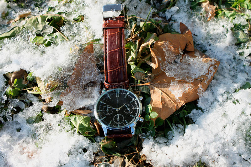 Download Watch On A Snow. Winter Greeting Stock Photo - Image of clock, space: 83711938