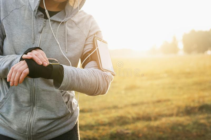 Watch for sports with smartwatch. Jogging training for marathon. Watch for sports with smartwatch. Jogging training for marathon stock photo