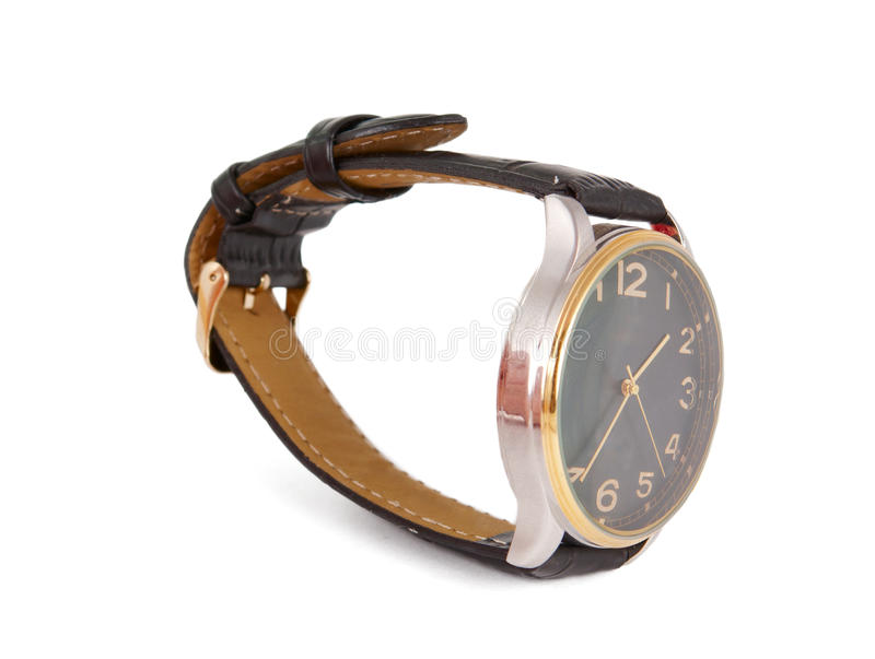 Watch with a strap. On a white background royalty free stock photos