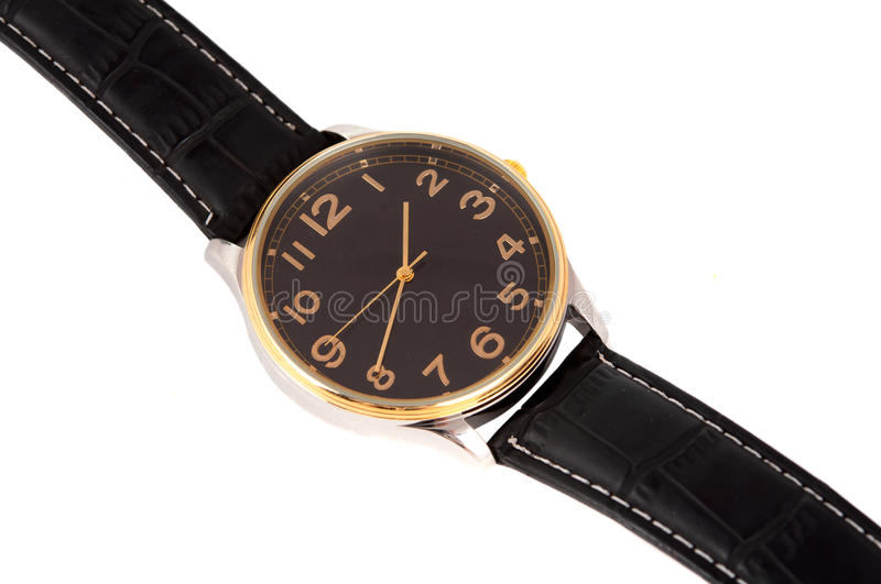 Watch with a strap. On a white background royalty free stock image