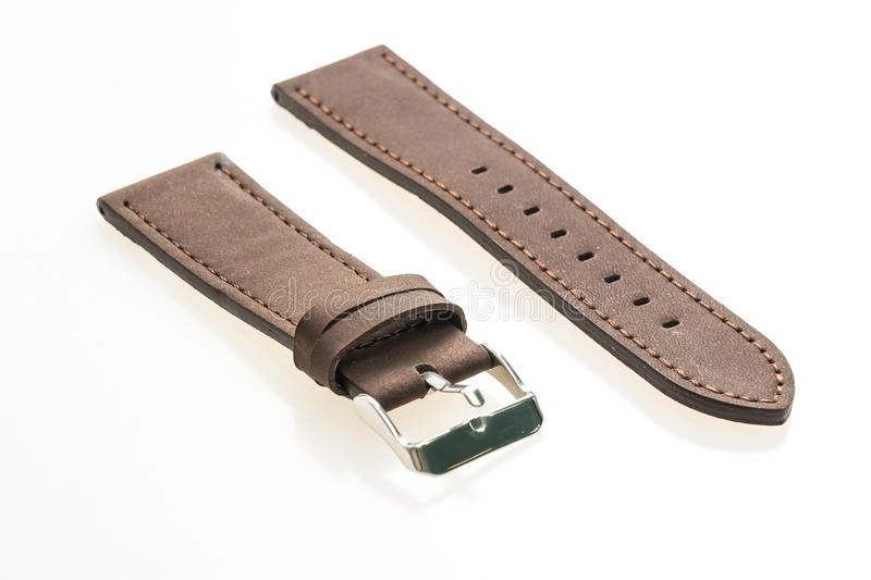 Watch strap leather. Isolated on white background stock images