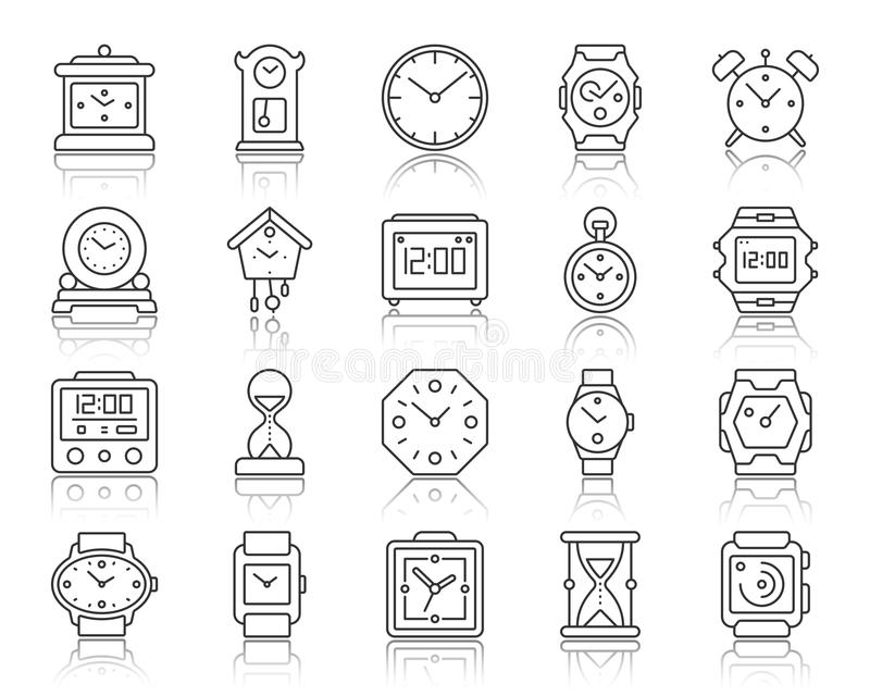 Watch simple black line icons vector set royalty free illustration