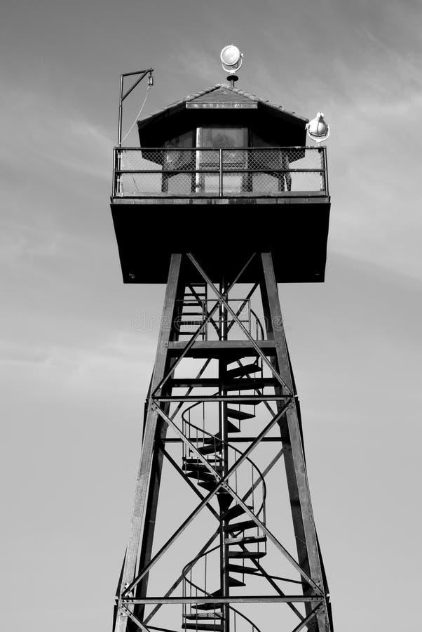 Watch tower, Alcatraz prison. San Francisco, California in black and white stock photo