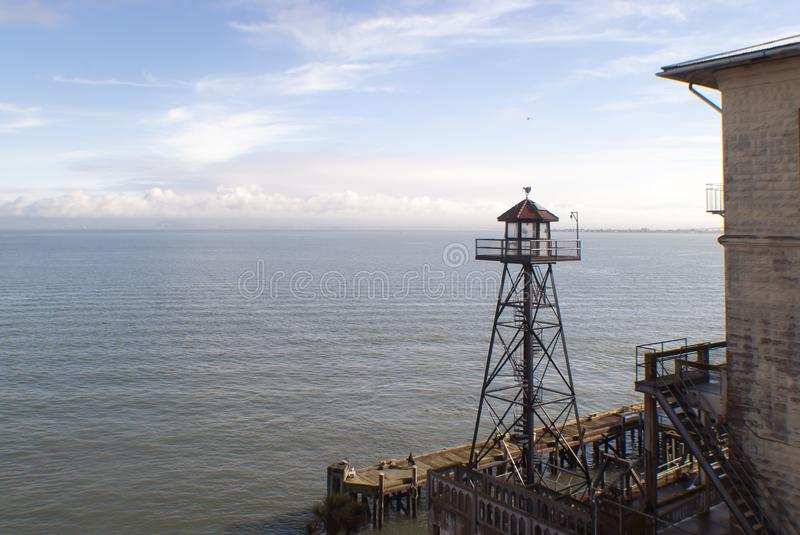 Watch tower, Alcatraz prison. San Francisco, California looking over the bay royalty free stock photography