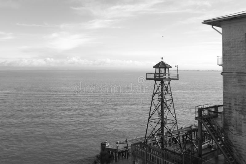 Watch tower, Alcatraz prison. San Francisco, California in black and white royalty free stock photography