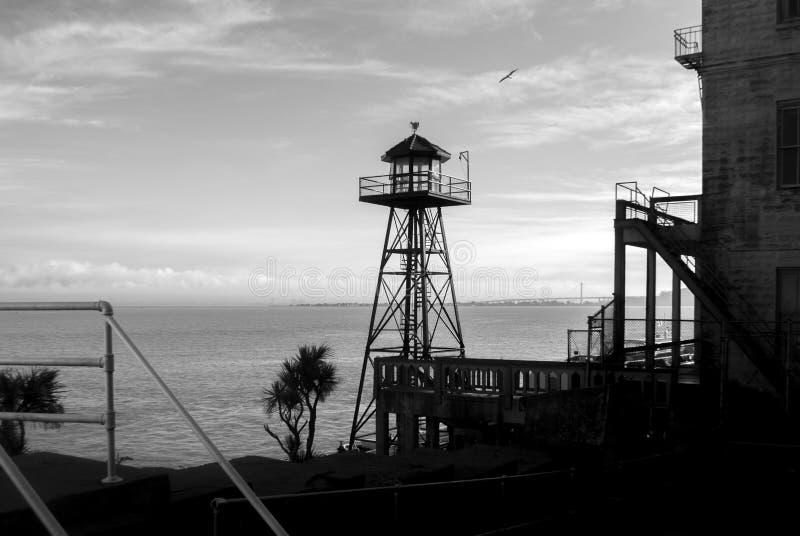 Watch tower, Alcatraz prison. San Francisco, California in black and white stock photos