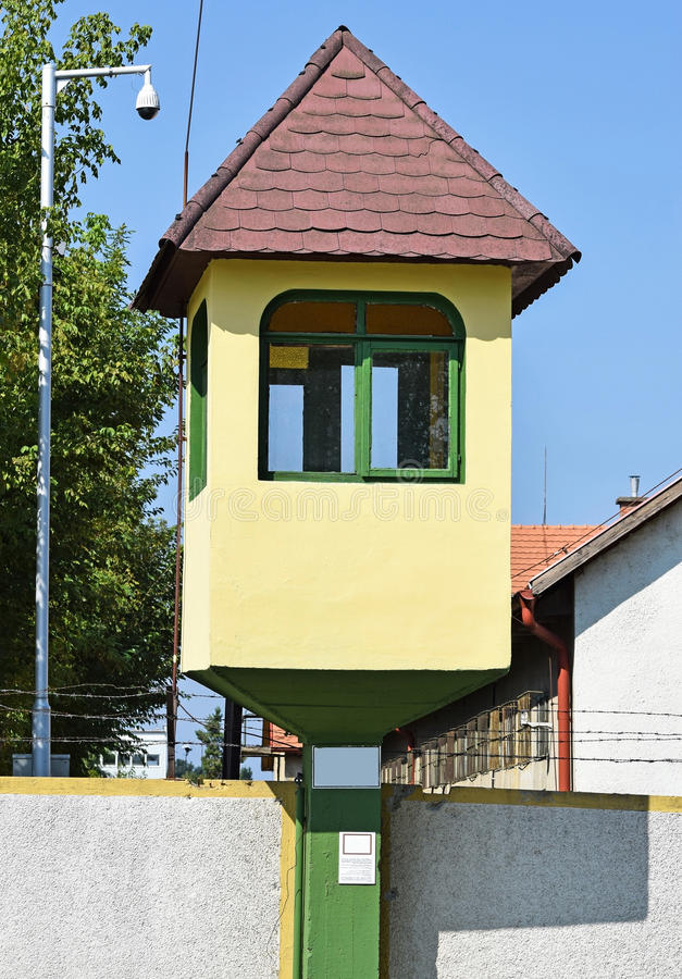 Watch tower of the army base. In the city stock photo