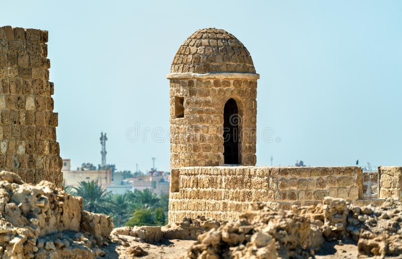 Watch Tower at Bahrain Fort. A UNESCO World Heritage Site. In the Persian Gulf stock image