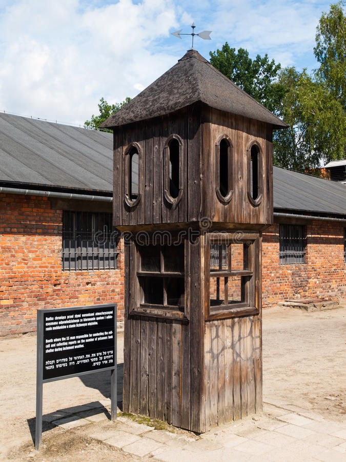 Watch tower in concentration camp. Oswiecim, Poland royalty free stock image
