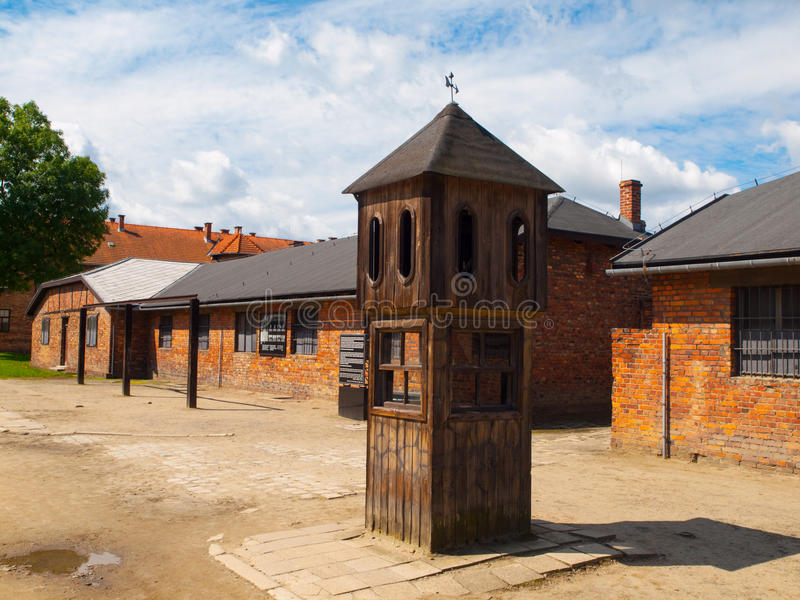 Watch tower in concentration camp. Oswiecim, Poland stock images