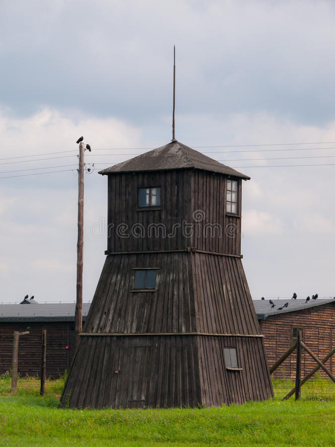 Watch tower in concentration camp. Wooden watch tower in concentration camp Majdanek (Poland royalty free stock image