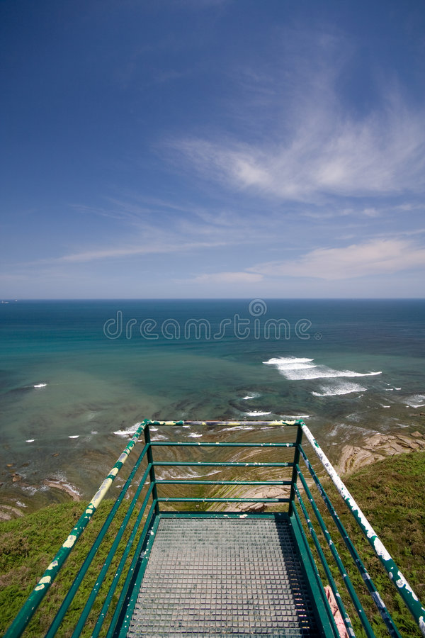 Watch tower detail. With ocean stock image