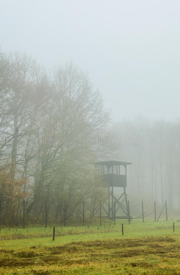 Watch tower in the fog royalty free stock images