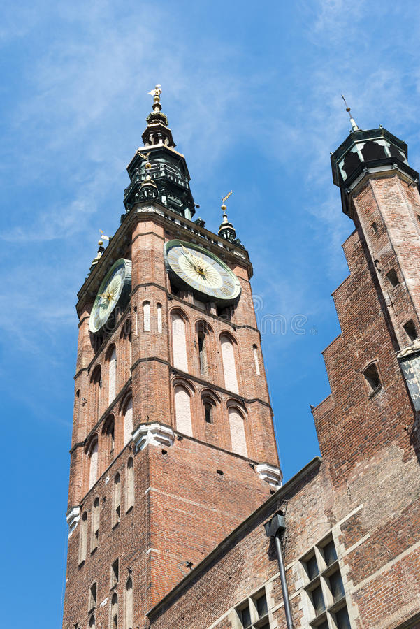 Watch tower in Gdansk. Ancient watch tower of famous St. Mary`s Basilica in Gdansk, Poland stock photo