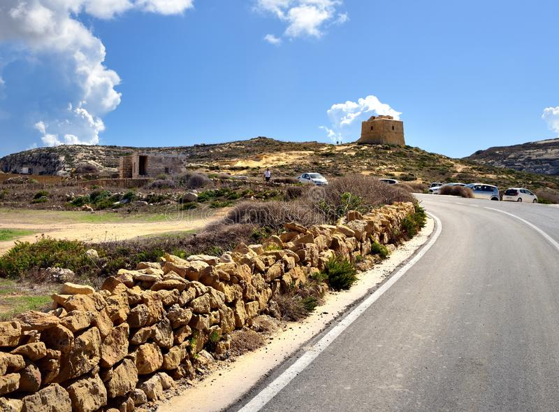 Watch tower on the hillside of Gozo. Goz, Malta - 8th October 2019:Watch tower at the Blue Lagoon stock image